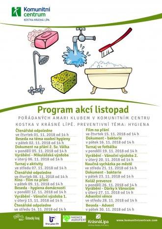 Program akcí Amari klub - listopad 2018