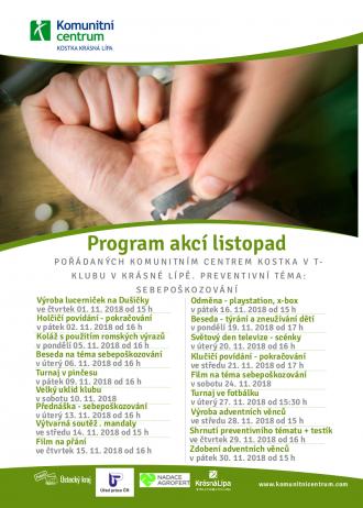 Program akcí T-klub - listopad 2018